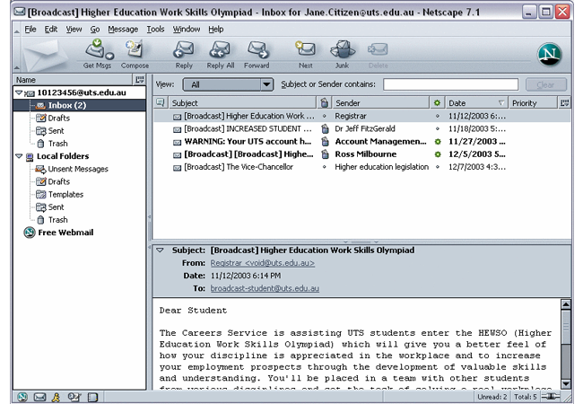 Netscape Email 7.2 - Free Email Program Review