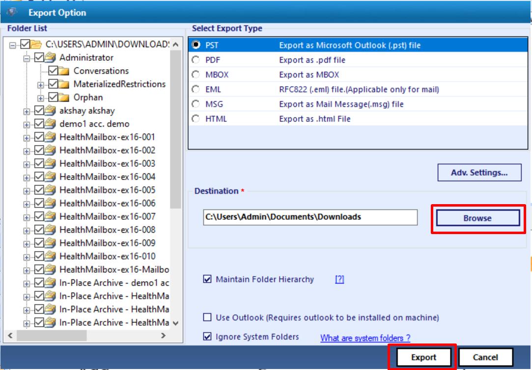 set target file path and export the edb calendar