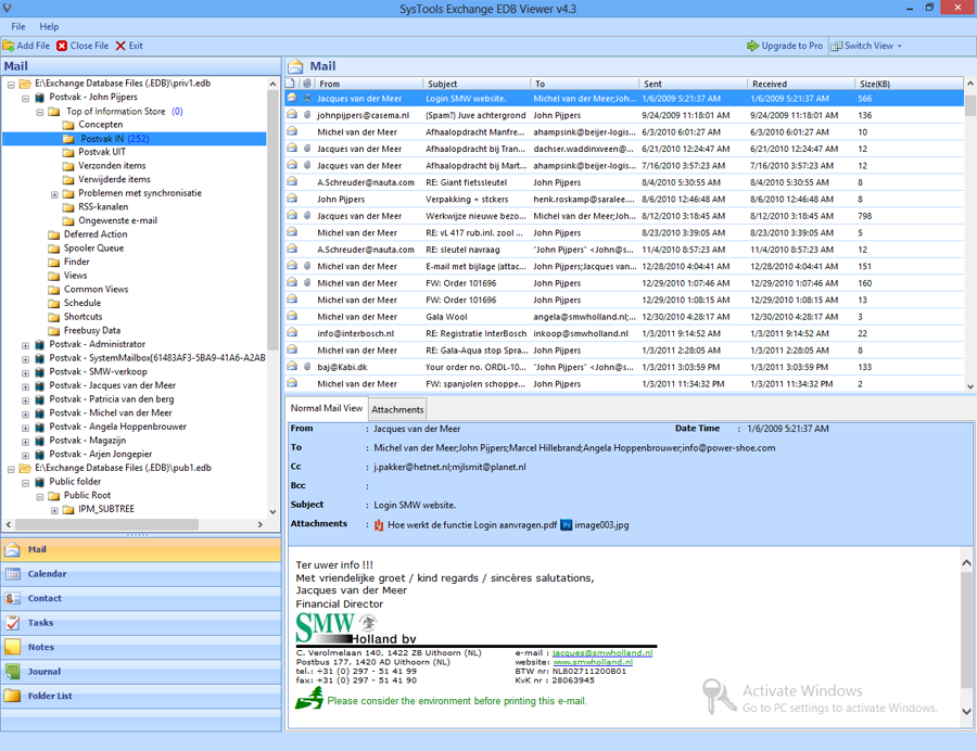 Exchange Server EDB Viewer for Mailboxes